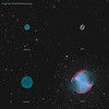 Target:  Planetary nebula collection (Abell 43, M 57, M 27 and Abell 39)<br /> <br /> Image Scale:  0.82 arcsec per pixel<br /> <br /> FOV:  27 x 27 arcmins