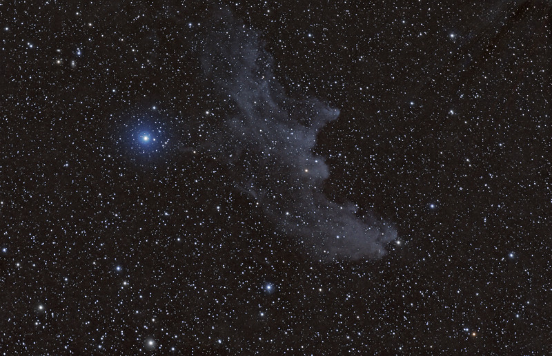 Target:  IC 2118 (Witch Head Nebula, reflection nebula in Eridanus)<br /> <br /> Distance from Earth:  800 light-years<br /> <br /> Image FOV:  231 x 149 arcmins<br /> <br /> Telescope: Takahashi FSQ-106ED refractor (f/5.0) <br /> <br /> Camera: SBIG STL11000M ccd<br /> <br /> Focus: Autofocus<br /> <br /> Images: Captured from GRAS-012 in Moorook, South Australia at an image scale of 3.49 arcsec/pixel; 25, 600 sec subexposures; 70 minutes (R), 80 minutes (G) and 100 Minutes (B), total exposure time of 250 minutes on Oct 8, 10, 11, 2010<br /> <br /> Processing: MaxIm DL 5.12 and Photoshop CS3 with GradientXTerminator and Noise Ninja; image cropped