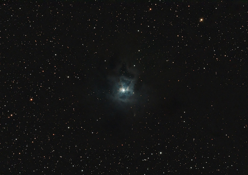 Target:  NGC 7023 (open cluster in Cepheus associated with nebulosity); LBN 487 (Iris Nebula, reflection nebula in Cepheus, apparent diameter 18 arcmin, magnitude 7)<br /> <br /> Distance from Earth:  1300 light-years<br /> <br /> Image FOV: 76 x 54 arcmins (maximum FOV:  82 x 55 arcmins)<br /> <br /> Date/Time:  05/21/09 2317 EDT to 05/22/09 0405 EDT<br /> <br /> Mount: Takahashi NJP Temma II<br /> <br /> Telescope: Takahashi TOA-130 refractor with Tak 0.98x flattener (f/7.5) and Hutech LPS filter<br /> <br /> Camera: Starlight Xpress SXVF-M25C guided by SX Autoguider with Takahashi FS-60C refractor (f/5.9)<br /> <br /> Focus: Finger Lakes Instrumentation DF-2 with FocusMax/MaxIm DL software<br /> <br /> Sky conditions:  transparency 5/5, seeing 2/5<br /> <br /> Moon:  Moonrise 05/22/09 0412 EDT; Moon in Aries, 68 degress from target, 8% illuminated<br /> <br /> Images: Captured with MaxIm DL 4.60 at an image scale of 1.64 arcsec/pixel; 16 light exposures, 600 sec duration; 27, 0.55 sec flat_light frames and 27, 0.1 sec bias frames; 9 frames were used for alignment and stacking<br /> <br /> Processing: MaxIm DL 5.00 and Photoshop CS3 with Noise Ninja and GradientXTerminator; image cropped and downsampled