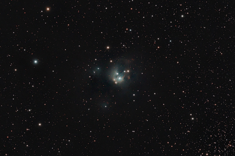 Target:  NGC 7129 (reflection nebula, apparent diameter 8 arcmins, magnitude 12) in Cepheus<br /> <br /> Distance from Earth:  3000 light-years<br /> <br /> Image FOV: 44 x 29 arcmins (maximum FOV:  82 x 55 arcmins)<br /> <br /> Date/Time/Moon: <br /> <br /> 06/23/09 2257 EDT to 06/24/09 0425 EDT<br /> <br /> Moonset 06/23/09 2204 EDT (Moon 2% illumination; 88 degrees from target)<br /> <br /> Sky conditions:  transparency 3/5, seeing 2/5<br /> <br /> Mount: Takahashi NJP Temma II<br /> <br /> Telescope: Takahashi TOA-130 refractor with Tak 0.98x flattener (f/7.5) and Hutech LPS filter<br /> <br /> Camera: Starlight Xpress SXVF-M25C guided by SX Autoguider with Takahashi FS-60C refractor (f/5.9)<br /> <br /> Focus: Finger Lakes Instrumentation DF-2 with FocusMax/MaxIm DL software<br /> <br /> Images:  Captured with MaxIm DL 4.60 at an image scale of 1.64 arcsec/pixel; total exposure time of 204 minutes; 39, 360 sec lights; 27, 0.55 sec flat_lights and 27 0.1 sec biases captured; 34 light frames were used for processing<br /> <br /> Processing: MaxIm DL 5.00 and Photoshop CS3 with Noise Ninja and GradientXTerminator; image cropped