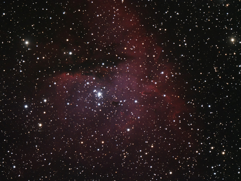 Target:  NGC 281 (Pac-Man Nebula, emission nebula in Cassiopeia)<br /> <br /> Distance from Earth:  10,000 light-years<br /> <br /> Image FOV:  36 x 27 arcmins<br /> <br /> Telescope: Takahashi TOA-150 refractor (f/7.3) <br /> <br /> Camera: SBIG ST2000 XMC ccd<br /> <br /> Focus: Autofocus<br /> <br /> Images: Captured from GRAS-003 in Mayhill, NM at an image scale of 1.39 arcsec/pixel; total exposure time of 80 minutes on Sep 28, 2010<br /> <br /> Processing: MaxIm DL 5.12 and Photoshop CS3 with Noise Ninja; image cropped