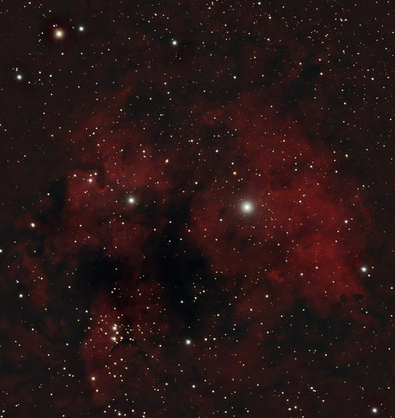 Target:  Cederblad 214 (emission nebula in Cepheus)<br /> <br /> Distance from Earth:  6000 light-years<br /> <br /> Image FOV:  48 x 45 arcmin<br /> <br /> Date/Time:  10/21/07 1950 EDT to 10/22/07 0340 EDT, 10/29/07 1954 EDT to 2150 EDT and 11/03/07 2252 EDT to 11/04/07 0320 EST<br /> <br /> Mount: Takahashi NJP Temma II<br /> <br /> Telescope: Takahashi TOA-130 refractor with Tak 0.98x flattener (f/7.5) and Astronomik 13nm Ha filter on 10/21/07 and Hutech LPS filter on 10/29/07 and 11/03/07<br /> <br /> Camera: Starlight Xpress SXVF-M25C guided by Takahashi FS-60C with SBIG STV (f/5.9)<br /> <br /> Focus: Finger Lakes Instrumentation DF-2 with FocusMax/MaxIm DL software<br /> <br /> Sky conditions (10/21/07): transparency 4/5, seeing 3/5<br /> <br /> Sky conditions (10/29/07): transparency 3/5, seeing 3/5<br /> <br /> Sky conditions (11/03/07): transparency 4/5, seeing 2/5<br /> <br /> Moon:  Moonrise 10/21/07 1609 EDT; Moonset 10/22/07 0340 EDT; Moonrise 10/29/07 2100 EDT; Moonrise 11/04/07 0244 EST<br /> <br /> Images: Captured with MaxIm DL 4.60 at an image scale of 1.64 arcsec/pixel; 25 light exposures, 900 sec duration and 1, 900 sec dark frame were captured on 10/21/07, 20 frames were used for alignment and stacking; 11 light exposures, 600 sec duration and 1, 600 sec dark frame were captured on 10/29/07 and 8 frames were used for alignment and stacking; 24 lights, 600 sec duration and 1, 600 sec dark frame were captured on 11/03/07 and 17 frames were used for alignment and stacking <br /> <br /> Processing: ImagesPlus 3 beta 9 & 10 and Photoshop CS3 with GradientXTerminator and Noise Ninja, image cropped.  Luminance data from Ha and red data from LPS image blended in PS and combined with blue and green data from LPS image.  Image cropped and downsampled.