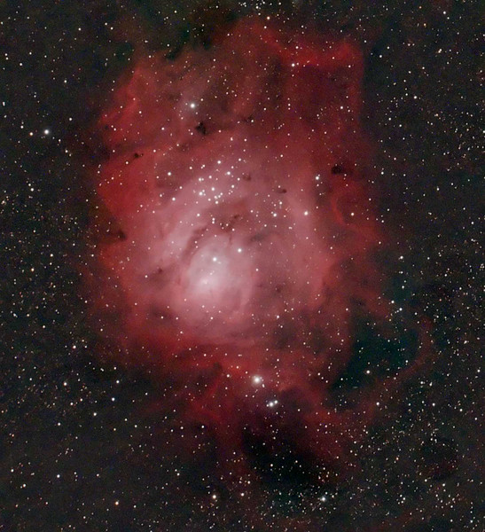Target: M8 (NGC 6523, Lagoon Nebula, emission nebula in Sagittarius, apparent diameter 90.0 arcmin, magnitude 5.8) <br /> <br /> Distance from Earth:  5200 light-years<br /> <br /> Date/Time: 07/22/07, 0215 EDT to 0255 EDT<br /> <br /> Mount: Takahashi NJP Temma II<br /> <br /> Telescope:  TOA-130 with Tak reducer (FL=780mm, f/6.0) and Hutech LPS filter<br /> <br /> Camera: Starlight Xpress SXVF-M25C ccd guided by SBIG STV with Takahashi FS-60C w/ Optec 0.62x reducer (f/3.7)<br /> <br /> Focus: VSE Epsilon MicroGlide focuser with RoboFocus motor and AstroArt 4.0 autofocus plug-in<br /> <br /> Sky conditions:  transparency 4/5, seeing 2/5, estimated FWHM 4.8, wind 6-11mph, humidity 55-60%, temp (O/I) 58.6/57.4F at beginning and 53.4/55.4F at conclusion<br /> <br /> Moon:  0.481 illuminated, mag -9.7, 7.6 days old, 0.21 days before 1st quarter; Moon was below horizon for imaging<br /> <br /> Images:  Captured with AstroArt 4.0 at an image scale of 2.06 arcsec/pixel; 10, 240 sec light frames were captured; no flat or dark frames; 5 light frames were used during processing<br /> <br /> Processing:  AstroArt 4.0, ImagesPlus 3 beta 5, MaxIm DL, RegiStar 1.0 and Photoshop CS 8.0 with GradientXTerminator and Noise Ninja; image cropped (08/09/07)