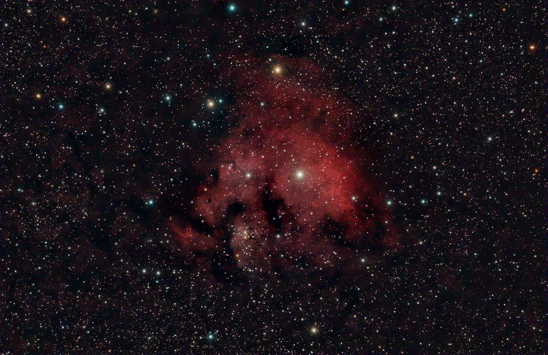 Target: Cederblad 214 (emission nebula in Cepheus) <br /> <br /> Distance from Earth:  6000 light-years<br /> <br /> Image FOV: 149 x 96 arcmin<br /> <br /> Date/Time: 10/04/08 2045 EDT to 10/05/08 0614 EDT<br /> <br /> Mount: Takahashi NJP Temma II<br /> <br /> Telescope: Takahashi FS-78 refractor with Hutech 0.85x reducer/flattener (f/6.9) and Hutech LPS filter<br /> <br /> Camera: Starlight Xpress SXVF-M25C ccd guided by SX Autoguider with Takahashi FS-60C refractor (f/5.9)<br /> <br /> Focus: Finger Lakes Instrumentation DF-2 focuser with FocusMax/MaxIm DL software<br /> <br /> Sky conditions:  transparency 3/5, seeing 3/5<br /> <br /> Moonset:  10/04/08 2140 EDT<br /> <br /> Images: Captured with MaxIm DL 4.60 at an image scale of 2.99 arcsec/pixel; 41 light exposures, 600 sec duration; 1, 600 sec dark frame; 27, 0.6 sec flat_light frames; 27, 0.6 second flat_dark frame and 27, 0.1 sec bias frames.  35 frames were used for alignment and stacking<br /> <br /> Processing: MaxIm DL 5.0, DeepSkyStacker 3.2.2 and Photoshop CS3 with Noise Ninja and Photoshop Tools; image cropped and downsampled (revised 03/19/09)