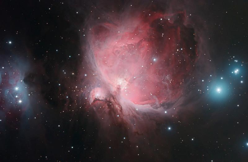 Target:  Orion Nebula; M42 (NGC 1976, emission nebula in Orion, apparent dimension 85x60 arcmin, magnitude 4.0 on right), M43 (NGC 1982, emission nebula in Orion, part of Orion Nebula, apparent dimension 20x15 arcmin, magnitude 9.0 in middle) and Running Man Nebula (NGC 1977, reflection nebula in Orion, apparent diameter 20 arcmin on left)<br /> <br /> Distance from Earth:  1600 light-years<br /> <br /> Image FOV: 79 x 52 arcmin<br /> <br /> Date/Time:  10/26/08, 0246 EDT to 0618 EDT<br /> <br /> Mount: Takahashi NJP Temma II<br /> <br /> Telescope: Takahashi TOA-130 refractor with Tak 0.98x flattener (f/7.5) and Hutech LPS filter<br /> <br /> Camera: Starlight Xpress SXVF-M25C ccd guided by SX Autoguider with Takahashi FS-60C refractor (f/5.9)<br /> <br /> Focus: Finger Lakes Instrumentation DF-2 focuser with FocusMax/MaxIm DL software<br /> <br /> Sky conditions:  transparency 3/5, seeing 2/5<br /> <br /> Moonrise:  10/26/08 0524 EDT<br /> <br /> Images: Captured with MaxIm DL 4.60 at an image scale of 1.64 arcsec/pixel; 10, 5 sec light exposures, 10, 60 sec light exposures & 12, 600 sec light exposures captured; 5, 5 sec dark frames & 5, 60 sec dark frames captured; 27, 1.0 sec flat_light frames; 27, 1.0 second flat_dark frame and 27, 0.1 sec bias frames were use from previous target captured on the same night; all frames were used for alignment and stacking<br /> <br /> Processing: MaxIm DL 5.00, DeepSkyStacker 3.2.2 and Photoshop CS3 with GradientXTerminator, Photoshop Tools and Noise Ninja; processed, aligned master frames from the the 3 different exposure durations were combined using layer masks in PS; image cropped and downsampled (revised 12/22/08)