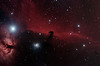Target:  IC 434 (emission nebula in Orion, apparent diameter 60 arcmin); Horsehead Nebula,B 33 (dark nebula in Orion, apparent dimension 6x4 arcmin); Flame Nebula, NGC 2024 (emission nebula in Orion, apparent diameter 30 arcmin, left) and NGC 2023 (reflection nebula in Orion, apparent diameter 10 arcmin, center)<br /> <br /> Distance from Earth:  1500 light-years<br /> <br /> Image FOV:  81 x 53 arcmin<br /> <br /> Date/Time: 10/31/08 0142 EDT to 0625 EDT<br /> <br /> Mount: Takahashi NJP Temma II<br /> <br /> Telescope: Takahashi TOA-130 refractor with Tak 0.98x flattener (f/7.5) and Hutech LPS filter<br /> <br /> Camera: Starlight Xpress SXVF-M25C ccd guided by SX Autoguider with Takahashi FS-60C refractor (f/5.9)<br /> <br /> Focus: Finger Lakes Instrumentation DF-2 focuser with FocusMax/MaxIm DL software<br /> <br /> Sky conditions:  transparency 3/5, seeing 4/5<br /> <br /> Moonset:  10/30/08 1854 EDT<br /> <br /> Images: Captured with MaxIm DL 4.60 at an image scale of 1.64 arcsec/pixel; 21 light exposures, 600 sec duration; 1, 600 sec dark frame; 27, 1.0 sec flat_light frames; 27, 1.0 second flat_dark frame and 27, 0.1 sec bias frames; 18 frames were used for alignment and stacking<br /> <br /> Processing: MaxIm DL 5.00, DeepSkyStacker 3.2.2 and Photoshop CS3 with Photoshop Tools and Noise Ninja; image cropped and downsampled (03/16/09)