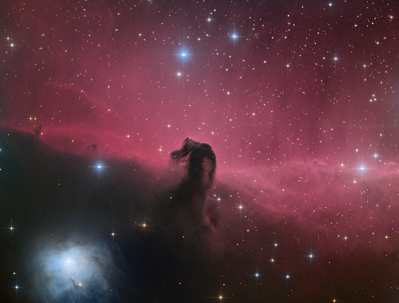 Target:  Horsehead Nebula; B 33 (dark nebula in Orion) in IC 434 (emission nebula in Orion)<br /> <br /> Distance from Earth:  1500 light-years<br /> <br /> Image FOV:  39 x 28 arcmin<br /> <br /> Telescope: PlaneWave CDK 20 (f/4.5)<br /> <br /> Camera: FLI ProLine PL6303E<br /> <br /> Images: Luminance data captured at an image scale of 0.81 arcsec/pixel (binned 1x1); RGB data captured at an image scale of 1.62 arcsec/pixel (binned 2x2); 80, 300 sec subexposures; 195 minutes (L), 75 minutes with (R), 65 minutes (G) and 65 minutes (B) from Oct 30, 2014 to Nov 27, 2014; total exposure time of 400 minutes<br /> <br /> Processing: MaxIm DL 5.18, CCDStack 1.0.7, Registar and Photoshop CS3 with StarSpikes Pro; final image scale 0.81arcsec/pixel; image cropped