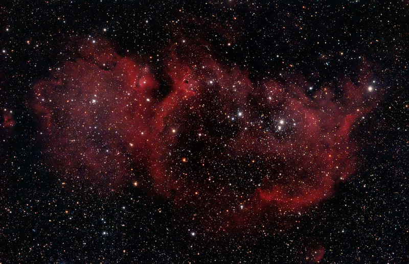 Target: IC 1848 (Soul Nebula, emission nebula associated with open star cluster in Cassiopeia)<br /> <br /> Distance from Earth:  6150 light-years<br /> <br /> Image FOV: 134 x 87 arcmin<br /> <br /> Date/Time: 09/28/08 2052 EDT to 09/29/08 0217 EDT and 09/29/08 2029 EDT to 09/30/08 0136 EDT<br /> <br /> Mount: Takahashi NJP Temma II<br /> <br /> Telescope: Takahashi FS-78 refractor with Hutech 0.85x reducer/flattener (f/6.9) and Hutech LPS filter<br /> <br /> Camera: Starlight Xpress SXVF-M25C ccd guided by SX Autoguider with Takahashi FS-60C refractor (f/5.9)<br /> <br /> Focus: Finger Lakes Instrumentation DF-2 focuser with FocusMax/MaxIm DL software<br /> <br /> Sky conditions:  transparency 2/5, seeing 2/5 and transparency 3/5, seeing 4/5<br /> <br /> Moonset:  09/28/08 1834 EDT and 09/30/08 1856 EDT<br /> <br /> Images: LPS data captured with MaxIm DL 4.60 at an image scale of 2.99 arcsec/pixel; 23 & 12 light exposures, 600 sec duration; 1 & 1, 600 sec dark frame; 27 & 27, 0.6 sec flat_light frames; 27 & 27, 0.6 second flat_dark frame and 27 & 27, 0.1 sec bias frames.  13 & 9 frames were used for alignment and stacking.<br /> <br /> Processing: MaxIm DL 5.0, DeepSkyStacker 3.2.2, ImagesPlus 3.5 and Photoshop CS3 with Noise Ninja and Photoshop Tools; pre-processing in MaxIm and DSS, post-processing in PS; data from 2 days average combined in IP with post-processing in PS; image cropped and downsampled (revised 03/16/09)