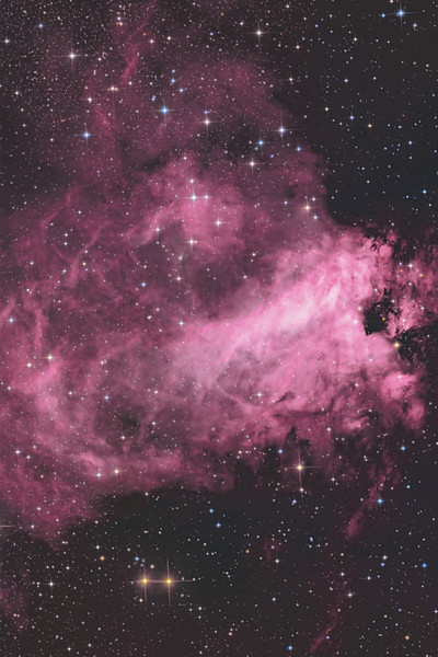 Target: M17 (NGC 6618, Omega or Swan Nebula, emission nebula in Sagittarius)<br /> <br /> Distance from Earth:  5000 light-years<br /> <br /> Image FOV:  20 x 30 arcmins<br /> <br /> Telescope: PlaneWave CDK 20 (f/4.5)<br /> <br /> Camera: FLI ProLine PL6303E<br /> <br /> Images: Luminance data captured at an image scale of 0.81 arcsec/pixel (binned 1x1); RGB data captured at an image scale of 1.62 arcsec/pixel (binned 2x2); 60, 180 sec subexposures; 90 minutes (L) and 30 minutes each (RGB) in May 2013; total exposure time of 180 minutes<br /> <br /> Processing: MaxIm DL 5.18, CCDStack 1.0.7, Registar 1.0 and Photoshop CS3 with StarSpikes Pro, final image scale 0.81 arcsec/pixel; image rotated and cropped