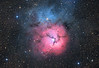 Target: M20 (NGC 6514, Trifid Nebula, emission and reflection nebula in Sagittarius)<br /> <br /> Distance from Earth:  5200 light-years<br /> <br /> Image FOV:  35 x 24 arcmins<br /> <br /> Telescope: PlaneWave CDK 20 (f/4.5)<br /> <br /> Camera: FLI ProLine PL6303E<br /> <br /> Images: Luminance data captured at an image scale of 0.81 arcsec/pixel (binned 1x1); RGB data captured at an image scale of 1.62 arcsec/pixel (binned 2x2); 36, 300 sec subexposures; 90 minutes (L) and 30 minutes each (RGB) on Apr 9, 11, 2013; total exposure time of 180 minutes<br /> <br /> Processing: MaxIm DL 5.18, CCDStack 1.0.7, Registar 1.0 and Photoshop CS3 with StarSpikes Pro, final image scale 0.81 arcsec/pixel; image cropped