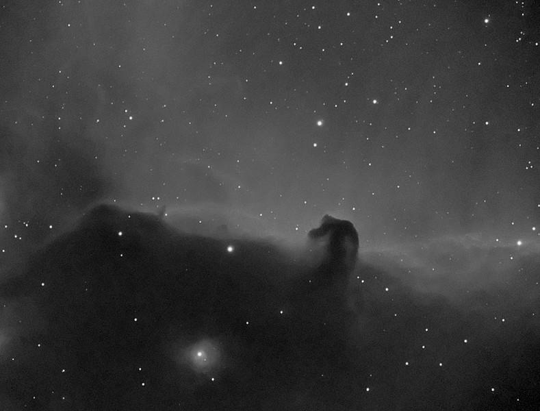 Target:  IC 434 (emission nebula in Orion), Horsehead Nebula (B 33, dark nebula in Orion) and Flame Nebula (NGC 2024, emission nebula in Orion)<br /> <br /> Distance from Earth:  1500 light-years<br /> <br /> Image FOV: 46 x 35 arcmin<br /> <br /> Date/Time:  02/16/08 2050 EST to 2348 EST<br /> <br /> Mount: Takahashi NJP Temma II<br /> <br /> Telescope: Takahashi TOA-130 refractor with Tak 0.98x flattener (f/7.5) and Astronomik 13nm Ha filter<br /> <br /> Camera: Starlight Xpress SXVF-M25C guided by Takahashi FS-60C with SBIG STV (f/5.9)<br /> <br /> Focus: Finger Lakes Instrumentation DF-2 with FocusMax/MaxIm DL software<br /> <br /> Sky conditions:  transparency 3/5, seeing 3/5<br /> <br /> Moonset 02/17/08 0504 EST <br /> <br /> Images: Captured with MaxIm DL 4.60 at an image scale of 1.64 arcsec/pixel; 6, 1200 sec lights; 49, 45 sec flats and 49, 0.1 sec biases captured; 5 light frames were used for processing.<br /> <br /> Processing: ImagesPlus 3.5, MaxIm DL 5.00 and Photoshop CS3 with Noise Ninja; luminance channel split from RGB color data, image cropped and downsampled (revised 08/04/08)
