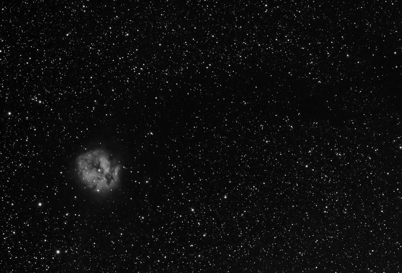Target: IC 5146 (open cluster in Cygnus, apparent dimension 10x10 arcmin, magnitude 7.2), Sh 2-125 (Cocoon Nebula, emission and reflection nebula in Cygnus, apparent dimension 10x10 arcmin, magnitude 7.2), and B 168 (dark nebula in Cygnus)<br /> <br /> Distance from Earth:  4000 light-years<br /> <br /> Image FOV:  79 x 53 arcmin<br /> <br /> Date/Time: 09/19/08 2034 EDT to 2335 EDT; 09/20/08 2344 EDT to 09/21/08 0539 and 09/21/08 2033 EDT to 09/22/08 0420<br /> <br /> Mount: Takahashi NJP Temma II<br /> <br /> Telescope: Takahashi TOA-130 refractor with Tak 0.98x flattener (f/7.5) and Astronomik 13nm Ha filter<br /> <br /> Camera: Starlight Xpress SXVF-M25C ccd guided by SX Autoguider with Takahashi FS-60C refractor (f/5.9)<br /> <br /> Focus: Finger Lakes Instrumentation DF-2 focuser with FocusMax/MaxIm DL software<br /> <br /> Sky conditions:  09/19/08 transparency 3/5, seeing 3/5; 09/20/08 transparency 2/5, seeing 3/5 and 09/21/08 transparency 2/5, seeing 3/5<br /> <br /> Moonsrise:  09/19/08 2132 EDT; 09/20/08 2223 EDT and 09/21/08 2324<br /> <br /> Images: Captured with MaxIm DL 4.60 at an image scale of 1.64 arcsec/pixel; 10, 14 & 24 light exposures, 900 sec duration; 1, 1 & 1, 900 sec dark frame; 27, 27 & 27, 3.5 sec flat_light frames; 1, 1 & 1, 3.5 second flat_dark frame and 27, 27 & 27, 0.1 sec bias frames.  8, 13 & 20 frames were used for alignment and stacking.<br /> <br /> Processing: MaxIm DL 5.00, ImagesPlus 3.5 and Photoshop CS3 with Noise Ninja; pre-processing in MaxIm, luminance channel split from RGB color data in IP, data from 3 nights weighted and average combined in IP and post-processing in PS, image cropped and downsampled