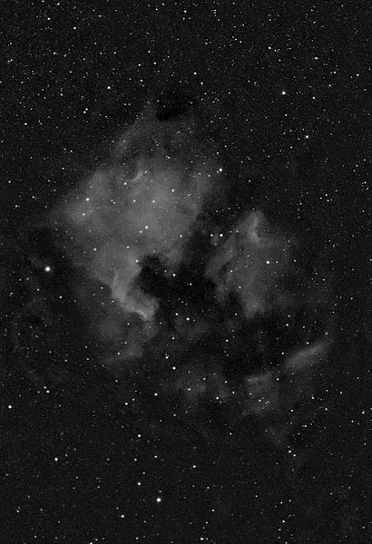 NGC 7000 on left (North America Nebula, emission nebula in Cygnus, apparent dimension 120x100 arcmin) and IC 5067 on right (Pelican nebula, emission nebula in Cygnus, apparent dimension 25x10 arcmin)<br /> <br /> Distance from Earth:  1600 light-years<br /> <br /> Date/Time:  07/22/07, 2335 to 07/23/07 0100 EDT<br /> <br /> Mount:  Takahashi NJP Temma II<br /> <br /> Telescope:  Canon 50mm (f/1.8) FD lens stopped down to f/3.5 and Baader 7nm Ha filter<br /> <br /> Camera: Starlight Xpress SXVF-M8C ccd guided by SBIG STV with Takahashi FS-60C w/ Optec 0.62x reducer (f/3.7)<br /> <br /> Focus: RoboFocus motor with Mandel setup and AstroArt 4.0 autofocus plug-in<br /> <br /> Sky conditions:  transparency 4/5, seeing 4/5, wind 6-11mph, humidity 55-60%, temp (O/I) 60.4/59.2F at beginning and 54.7/55.8F at conclusion<br /> <br /> Moon:  0.589 illuminated, mag -10.2, 8.7 days old, 0.92 days past 1st quarter; Moon above horizon during imaging<br /> <br /> Images:  Captured with AstroArt 4.0 at an image scale of 13.03 arcsec/pixel; 10 light exposures, 540 sec duration; no dark or flat frames; 8 images used for processing<br /> <br /> Processing:  Red data.  ImagesPlus 3 beta 5, Picture Window Pro 4.0 and Photoshop CS 8.0 with GradientXTerminator and Noise Ninja; image cropped (revised 08/07/07)