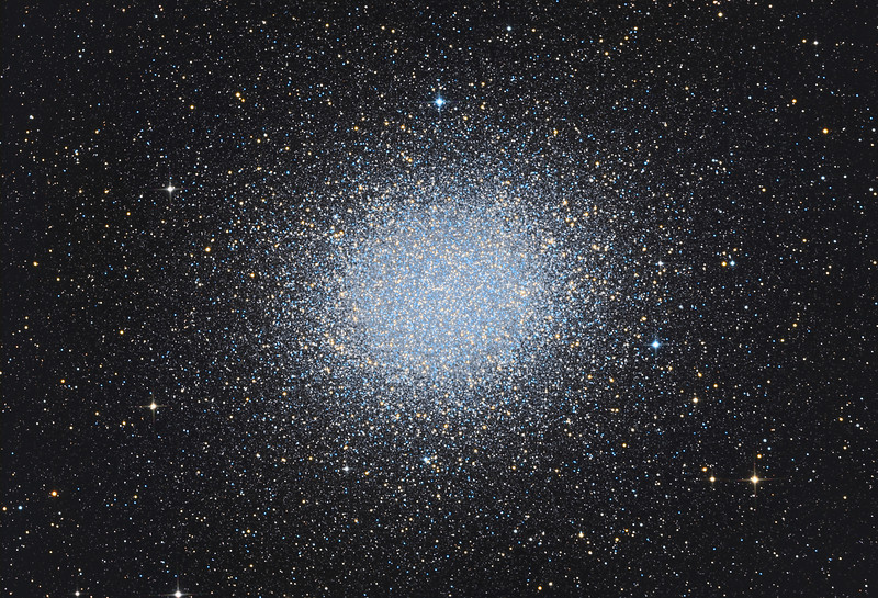 Target:  Omega Centauri (NGC 5139, globular cluster in Centaurus)<br /> <br /> Distance from Earth:  17,000 light-years<br /> <br /> Image FOV:  40 x 28 arcmins<br /> <br /> Telescope: PlaneWave CDK 20 (f/4.5)<br /> <br /> Camera: FLI ProLine PL6303E<br /> <br /> Images: Data captured at an image scale of 0.81 arcsec/pixel (binned 1x1); 36, 300 sec exposures; 93 minutes Lum, 30 minutes R, 30 minutes G and 27 min B on Feb 19, 2013; total exposure time of 180 minutes<br /> <br /> Processing: MaxIm DL 5.18, CCDStack 1.0.7, Registar 1.0 and Photoshop CS3 with GradientXTerminator and StarSpikes Pro 2.0, image cropped
