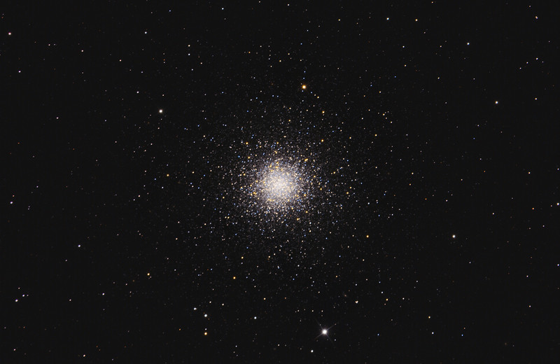 Target: M3 (NGC 5272, globular cluster in Canis Venatici)<br /> <br /> Distance from Earth:  33,900 light-years<br /> <br /> Image FOV:  40 x 26 arcmin<br /> <br /> Telescope: PlaneWave CDK17 (f/6.8)<br /> <br /> Camera: SBIG STL11000M ccd<br /> <br /> Images: Captured from GRAS-007 in Nerpio, Spain at an image scale of 0.63 arcsec/pixel; 44, 120 sec subexposures; 20 minutes (R), 18 minutes (V), 20 minutes (B) and 30 minutes (L); total exposure time of 88 minutes on Feb 11, 12, 2011; L data binned 1x1, RVB data binned 2x2<br /> <br /> Processing: MaxIm DL 5.12, Registar 1.0 and Photoshop CS3 with GradientXTerminator and Noise Ninja; image cropped