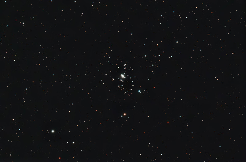 Target: NGC 1502 (open cluster in Camelopardalis, apparent diameter 8 arcmins, magnitude 5.7)<br /> <br /> Distance from Earth:  3000 light-years<br /> <br /> Image FOV: 49 x 32 arcmins (maximum FOV:  51 x 34 arcmins)<br /> <br /> Date/Time: 04/04/09 2132 EDT to 2344 EDT<br /> <br /> Mount: Takahashi NJP Temma II<br /> <br /> Telescope: Takahashi TOA-130 refractor with Tak flattener, Tak 1.6x extender (f/12.3) and Hutech LPS filter<br /> <br /> Camera: Starlight Xpress SXVF-M25C ccd guided by SX Autoguider with Takahashi FS-78 refractor with Optec 0.62 reducer (f/5.0)<br /> <br /> Focus: Finger Lakes Instrumentation DF-2 focuser with FocusMax/MaxIm DL software<br /> <br /> Sky conditions:  transparency 3/5, seeing 2/5<br /> <br /> Moonset:  04/05/09 0445 EDT (2.4 days after First Quarter)<br /> <br /> Images: Captured with MaxIm DL 4.60 at an image scale of 1.00 arcsec/pixel; 30 light exposures, 120 sec duration; 3, 120 sec dark frame; 27, 1.3 sec flat_light frames and 27, 0.1 sec bias frames; 15 frames were used for alignment and stacking<br /> <br /> Processing: MaxIm DL 5.00 and Photoshop CS3 with Noise Ninja and GradientXTerminator; image cropped and downsampled (revised 05/10/09)