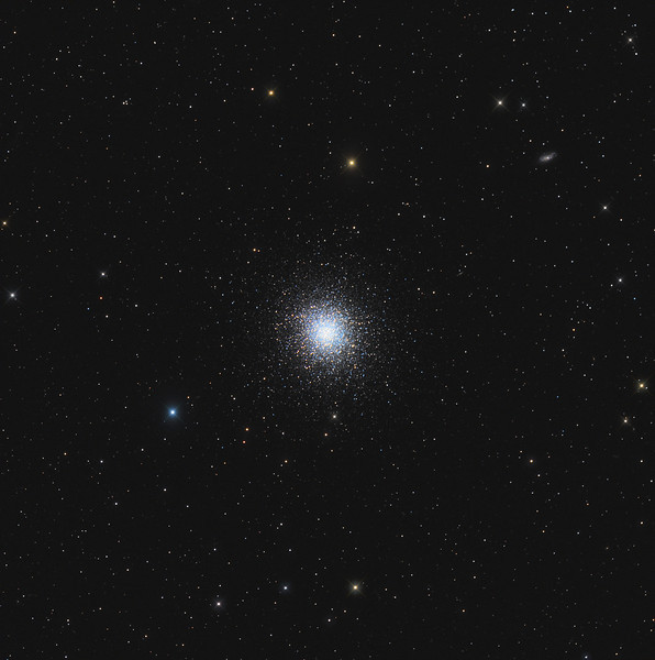 Target:  M13 (NGC 6205, globular cluster in Hercules)<br /> <br /> Distance from Earth:  25,100 light-years<br /> <br /> Image FOV:  65 x 65 arcmins<br /> <br /> Telescope: Takahashi TOA-130 (f/6.0) <br /> <br /> Camera: Starlight Xpress SXVR-H16<br /> <br /> Images: Captured at an image scale of 1.96 arcsec/pixel; 24 120 sec subexposures with the lum filter and 24, 120 sec subexposures with the RGB filters; 16 minutes (R), 16 minutes (G), 16 minutes (B) and 48 minutes (L); total exposure time of 96 minutes on Apr 14, 2011; all subs binned 1x1<br /> <br /> Processing: MaxIm DL 5.12 and Photoshop CS3 with GradientXTerminator, Noise Ninja and StarSpikes Pro; image cropped