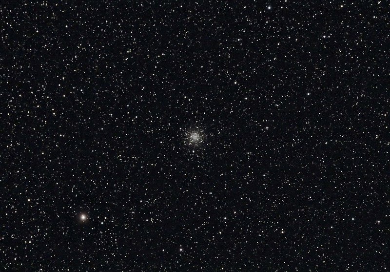 Target:  M56 (NGC 6779, globular cluster in Lyra, apparent dimension 8.8 arcmin, magnitude 8.3)<br /> <br /> Distance from Earth:  32,900 light-years<br /> <br /> Date/Time:  07/01/07, 0010 to 0030 EDT<br /> <br /> Mount:  Takahashi NJP Temma II<br /> <br /> Telescope:  Takahashi TOA-130 with 0.98x reducer  (f/7.5) and no filter<br /> <br /> Camera: Starlight Xpress SXVF-M25C ccd guided by SBIG STV with Takahashi FS-60C w/ Optec 0.62x reducer (f/3.7)<br /> <br /> Focus: VSE Epsilon, RoboFocus and AstroArt 4.0 autofocus plug-in<br /> <br /> Sky conditions:  transparency 3/5, seeing 2/5, wind 12-16mph, humidity 45-50%, temp (O/I) 59.2/60.3F at beginning and 57.4/59.2F at conclusion<br /> <br /> Moon:  0.993 illuminated, mag -12.5, 16.2 days old, 0.73 days past full<br /> <br /> Images:  Captured with AstroArt 4.0 at an image scale of 1.64 arcsec/pixel; 15 light exposures, 60 sec duration; 20, 60 sec dark frames and 20, 0.10 sec flat-light and flat-dark frames; 15 light frames used during processing<br /> <br /> Processing:  ImagesPlus 3 beta 3, RegiStar, Picture Window Pro 4.0 and Photoshop CS 8.0 with GradientXTerminator and Noise Ninja, image cropped (revised 07/18/07)