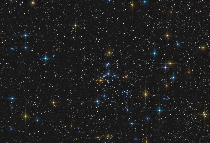 Target:  NGC 5281 (open cluster in Centaurus)<br /> <br /> Distance from Earth:  4200 light-years<br /> <br /> Image FOV:  38 x 26 arcmin<br /> <br /> Telescope: PlaneWave CDK 20 (f/4.5)<br /> <br /> Camera: FLI ProLine PL6303E<br /> <br /> Images: LRGB data captured at an image scale of 0.81 arcsec/pixel (binned 1x1); 18, 60 sec subexposures; 9 minutes (L), 3 minutes with (R), 3 minutes (G) and 3 minutes (B) from Feb 28-29,2016; total exposure time of 18 minutes<br /> <br /> Processing: MaxIm DL 5.18, CCDStack 1.0.7, Registar 1.0 and Photoshop CS3 with GradientXterminator, Noise Ninja and StarSpikes Pro; final image scale 0.81arcsec/pixel; image cropped