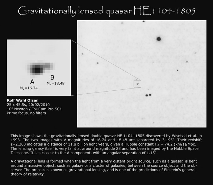 Gravitationally lensed quasar HE1104-1805