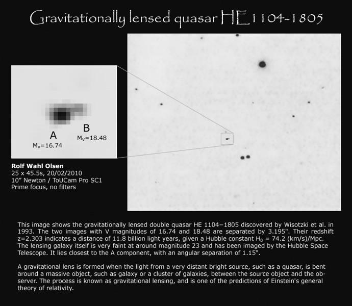 Gravitationally lensed quasar HE1104-1805