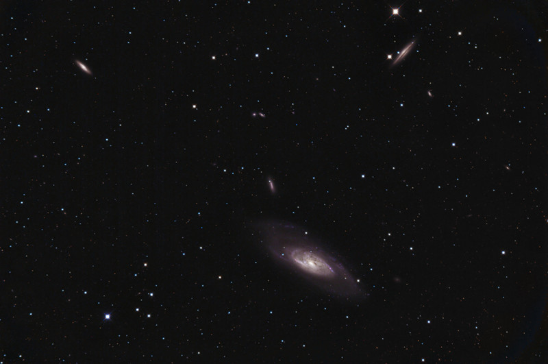 M106 and friends<br /> <br /> Spiral galaxy M106 lies in Canes Venatici, the Hunting Dogs. It lies a measly 25 million light years from my garden. Its equatorial plane is tilted to our line of sight, rather like M31, the Andromeda Galaxy, which is 10 times closer, and has many similar features. M106's spiral arms end in bright blue knots of young clusters dominated by massive new stars. Just above in this image is galaxy NGC4248, and to the upper left is NGC4220. To the upper right is edge on spiral NGC4217, and if you look carefully there are many smaller and more distant galaxies in the picture too. <br /> <br /> Orion Optics UK AG16 Astrograph: SBIG 11000 CM: Titan Mount<br /> 22 x 5 minutes (1 hr 50 minutes total) single shot colour, processed with CCDStack, Photoshop, Pixinsight<br /> <br /> Data capture 23rd and 24th March 2012