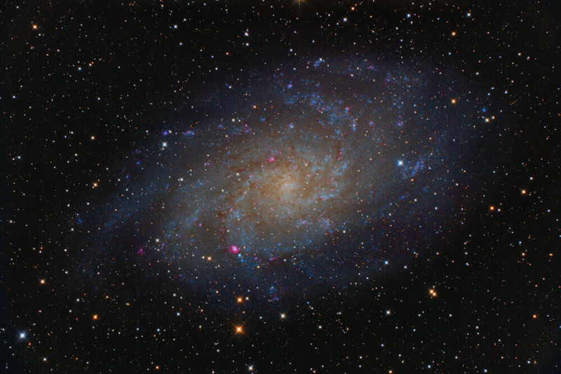 The Triangulum Galaxy is a slanted face-on spiral galaxy approximately 2.8 million light years from Earth in the constellation Triangulum. It is catalogued as Messier 33 or NGC 598, and is sometimes informally referred to as the Pinwheel Galaxy, a nickname it shares with Messier 101. The Triangulum Galaxy is the third-largest member of the Local Group of galaxies, which includes the Milky Way Galaxy, the Andromeda Galaxy (M31) and about 30 other smaller galaxies. It is one of the most distant permanent objects that can be viewed with the naked eye. Its diameter is about 50,000 light years, so less than half the size of the Milky Way or about a third as wide as M31. <br />  <br /> M33 contains many reddish HII regions of star formation. The brightest sources lie within the central region of the galaxy and along the spiral arms.The four brightest HII regions are designated NGC 588, NGC 592, NGC 595 and NGC 604.  The brightest of these regions, NGC 604, may have undergone a discrete outburst of star formation about three million years ago.<br /> <br /> Orion Optics UK AG16 Astrograph: SBIG 11000 CM: Titan Mount<br /> 56 x 4 minutes minutes (3hr 44 minutes total) single shot colour,  processed with CCDStack, Photoshop, Pixinsight. <br /> <br /> Data capture: 29th October 2013