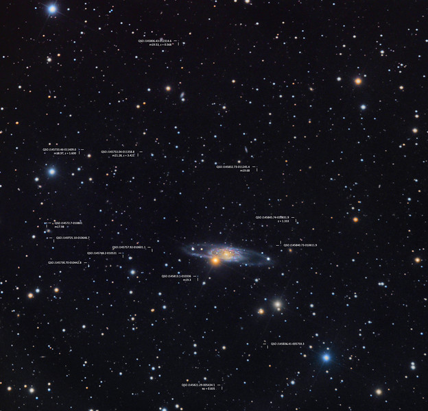 Spiral Galaxy NGC 5792 with Distant Background Quasars (annotated)