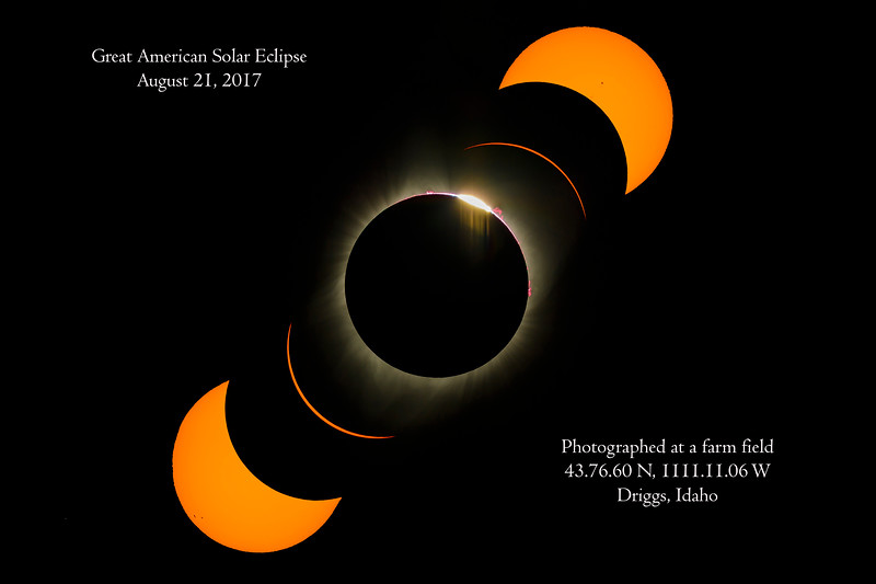 This is a composite image showing the closed-up of the eclipse during various phases.  There were total of 5 sunspots on this day also do you see a star in this image?