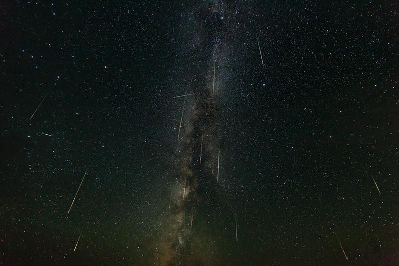2013 Perseid Meteor Shower over Pearson Ridge, Oregon; composite