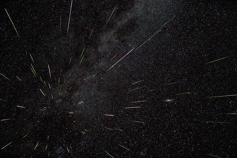 2015 Perseid Meteor Shower over Ritter Butte, Oregon; composite