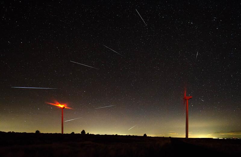 2015 Geminid Meteor Shower near Bickleton, Washington; composite