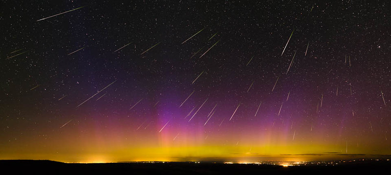 2016 Perseid Meteor Shower near Pilot Rock, Oregon; Aurora Borealis; composite