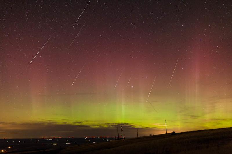 2015 Taurid Meteor Shower Emigrant Hill, Oregon; Aurora Borealis; composite