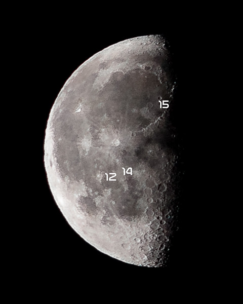 "58% waning gibbous early this morning🌗 Along with the Moon progressing toward its last-quarter phase in this picture, you can see labeled the Apollo 12, 14, and 15 landing sites that were also illuminated last night. Trying to learn the lunar geography more instead of just looking up and taking a picture. Apollo 12 landed in the Oceanus Procellarum region (latin for ""sea of Storms"") Apollo 14 landed in the Fra Mauro Formation near Cone Crater, just northeast of the Mare Cognitum (latin for ""The Sea that has Become Known"") and Apollo 15 landed in the eastern region of the Mare Imbrium region (latin for ""Sea of Showers"") @CanonUSA #EOS #RebelT5i #Canon #EF 75-300mm f/4.5-4.5 III 300mm 