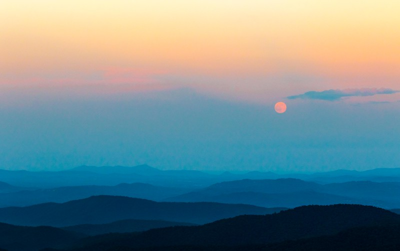 Full Buck Moon rising over Pisgah National Forest in Asheville, North Carolina. I have never really been anywhere outside of the flat fields of Indiana, and I find the not only the change of scenery but also the beauty of Mother Nature, absolutely stunning.