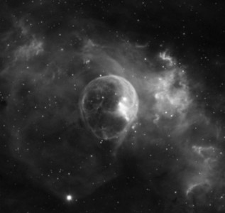 "Closeup on the ""bubble nebula"""