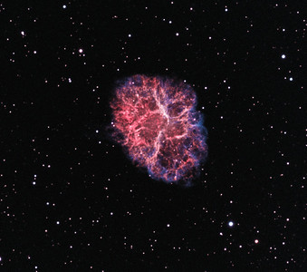 "[Description adapted from NASA APOD:  the Crab is now known to be a supernova remnant, an expanding cloud of debris from the explosion of a massive star. The violent birth of the Crab was witnessed by astronomers in the year 1054. Roughly 10 light-years across today, the nebula is still expanding at a rate of over 1,000 kilometers per second]   This is a bicolor-rendition in the same style as NGC6888 (linked below in the comments). I have mapped Ha to Red, OIII to blue and created a synthetic green channel mixing the two (15% OIII + 85% Ha).  Ha: 20 x 30m (5nm)  OIII: 20 x 30m (3nm) total exposure time: 20 hours.   Main Camera: QSI 583 WSG Guide Camera: SXV Lodestar (on OAG) Mount: Astro-Physics Mach 1 Scope: Celestron Edge HD 8"" (FL: 2032mm) Adaptive Optics Unit: SXV-AO-LF Image Aquisition software MaximDL Registed, Calibrated and Stacked in MaximDL Post Processed with PixInsight 1.8 and Photoshop CS6"