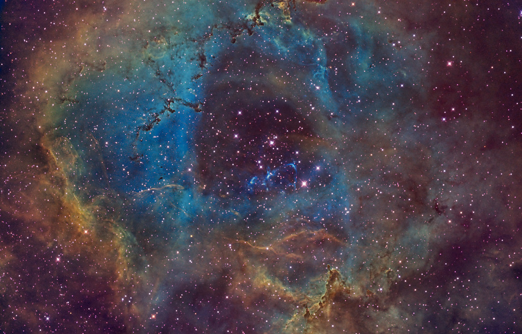 NGC 2244 Rosette Nebula (version 4: full narrowband)