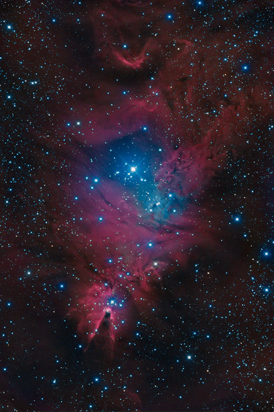 Christmas Tree Cluster NGC 2264 and Cone Nebula (rotated view)