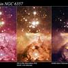 Pismis 24 - comparison with ESO La Silla and Hubble Space Telescope