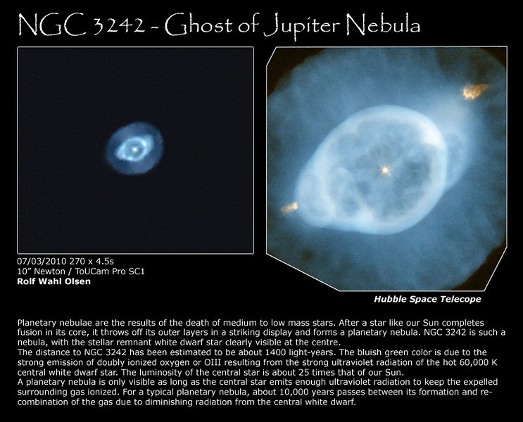 Ghost of Jupiter Nebula NGC3242, with Hubble comparison