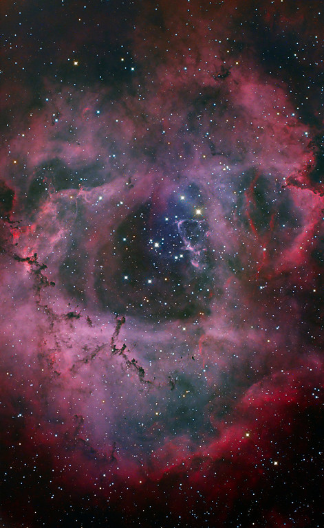 NGC 2244 Rosette Nebula and star cluster (version 3)