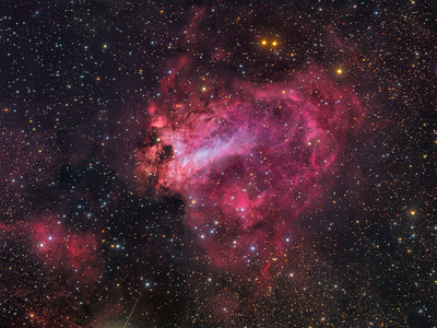 The Swan Nebula - Optical/Infrared Comparison