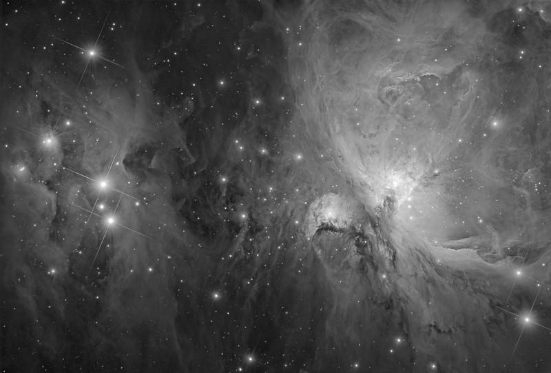 Interstellar Origins: The Great Orion Nebula and The Running Man (Luminance)