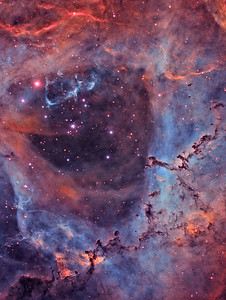 Close-up with the Rosette Nebula (Narrowband Colour)