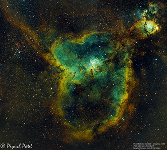 The Heart Nebula, IC 1805, Sharpless 2-190 - 7500 light years away from Earth 6 Frame Mosaic - 78 Hours Total Date Captured: 09/2016 - 10/2016 Telescope: TEC 140 F/7 ED Mount: AP1100 GT0 AP QUAD TCC Camera: SBIG STT-8300M Filterwheel - Autoguider: SBIG FW8G-STT  Data:  Astrodon Ha 5nm Filter 78X20min Astrodon OIII 5nm Filter 78X20min Astrodon SII 5nm Filter 78X20min Total Data: 78 Hours Location: Wilmington, MA, USA