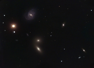 Hickson 68 Galaxy Group  --  in Canes Venatici   Location: Gibsonia, PA   Equipment: Imaging Camera = ATIK 383L Camera  Autoguiding Camera = Atik16IC via an OAG Telescope OTA = Nexstar 11SCT @ f10 Mount = CGEM  Exposures = multiple 5 min. L + multiple10min. each RGB  Software = Maxim DL and Photoshop CS5