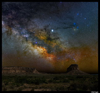 Milky Way rising over Fajada Butte, Chaco Culture NHP, New Mexico
