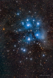 M45 Pleiades Star cluster and nebulosity. 132 min total integration. e180Ed + D850. Backyard on new pier SQM=19.73.